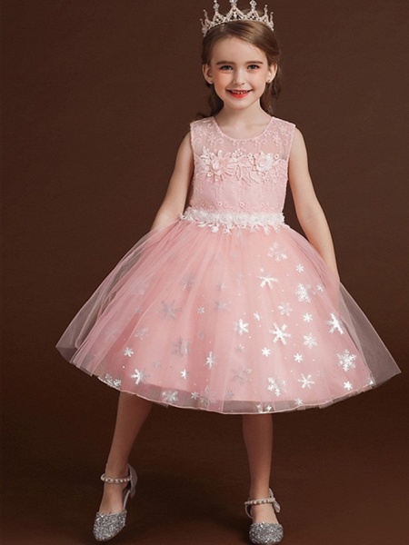 Princess / Ball Gown Knee Length Wedding / Party Flower Girl Dresses - Lace / Tulle Sleeveless Jewel Neck With Bow(S) / Appliques_5