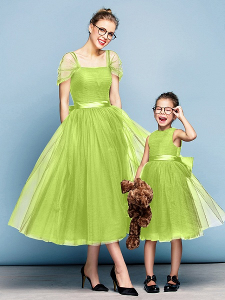 Princess Tea Length Party / Prom / Formal Evening Flower Girl Dresses - Tulle Short Sleeve Square Neck With Bow(S) / Ruched / Elegant_27