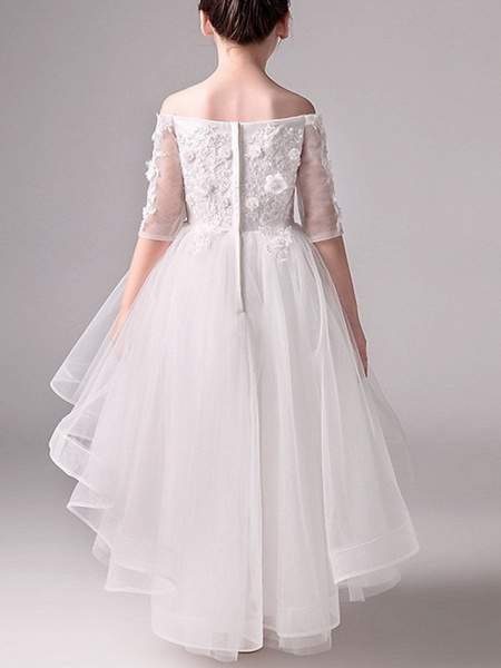 A-Line Asymmetrical Pageant Flower Girl Dresses - Tulle Half Sleeve Off Shoulder With Beading / Appliques_4