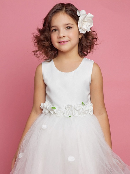 Princess / Ball Gown / A-Line Knee Length First Communion / Wedding Party Lace / Organza / Satin Sleeveless Scoop Neck With Bow(S) / Draping / Flower / Spring / Summer / Fall_4