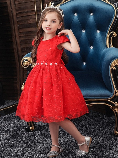 Princess / Ball Gown Knee Length Wedding / Party Flower Girl Dresses - Tulle Cap Sleeve Jewel Neck With Sash / Ribbon / Bow(S) / Embroidery_2