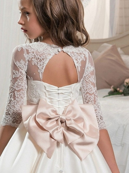 Ball Gown Floor Length Event / Party / Formal Evening Flower Girl Dresses - Polyester 3/4 Length Sleeve Scoop Neck With Lace / Bow(S)_3