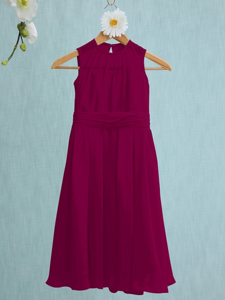 Sheath / Column Jewel Neck Knee Length Chiffon Junior Bridesmaid Dress With Ruched / Natural_39