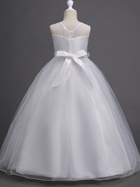 Princess Long Length Wedding / First Communion Satin / Tulle Sleeveless Jewel Neck With Belt / Appliques_2