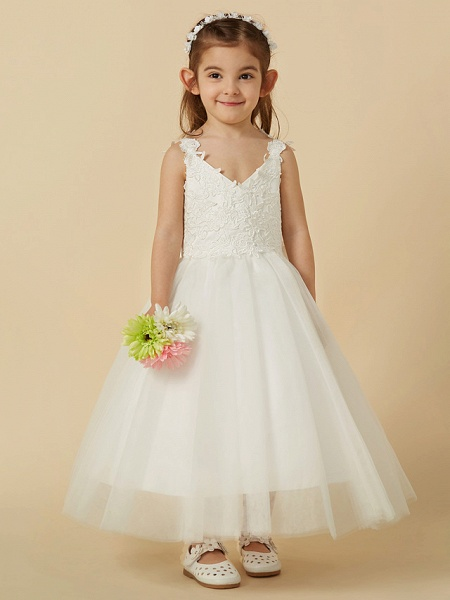 A-Line Knee Length Wedding / First Communion Flower Girl Dresses - Lace / Tulle Sleeveless V Neck With Bow(S)_5