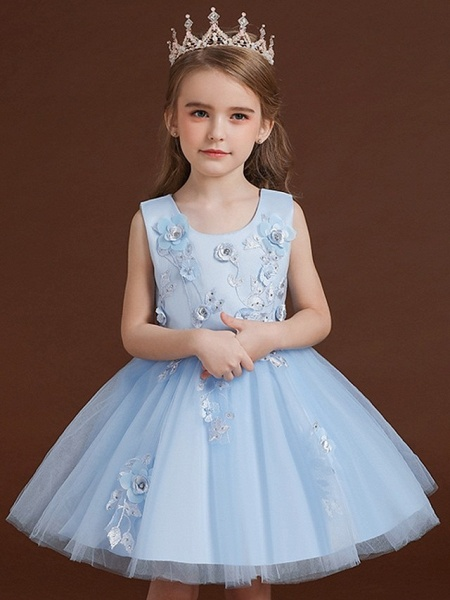Princess / Ball Gown Knee Length Wedding / Party Flower Girl Dresses - Tulle / Satin Chiffon Sleeveless Jewel Neck With Bow(S) / Appliques_1