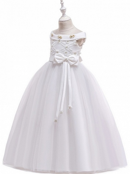 Princess / Ball Gown Floor Length Wedding / Party Flower Girl Dresses - Tulle Short Sleeve Off Shoulder With Sash / Ribbon / Bow(S) / Appliques_9