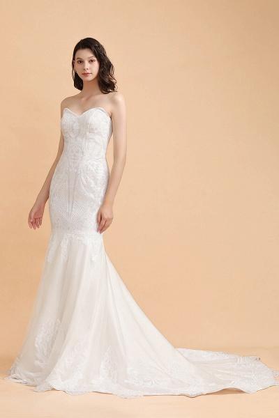 Sparkle Mermaid Sweetheart White Court Train Wedding Dress_4