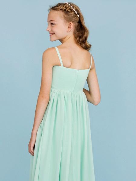 Princess / A-Line Spaghetti Strap Floor Length Chiffon Junior Bridesmaid Dress With Criss Cross / Pleats / Wedding Party / Open Back_7