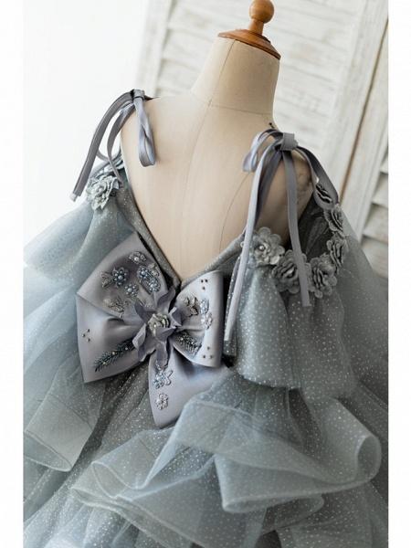 Ball Gown Knee Length Wedding / Birthday Flower Girl Dresses - Tulle Sleeveless Spaghetti Strap With Bow(S) / Beading / Flower_4