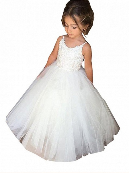 Princess Long Length Wedding / Birthday / Pageant Flower Girl Dresses - Tulle / Cotton Sleeveless Jewel Neck With Lace / Appliques_4