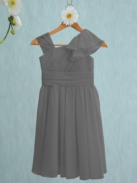 Sheath / Column Straps Knee Length Chiffon Junior Bridesmaid Dress With Ruffles / Side Draping / Natural_24