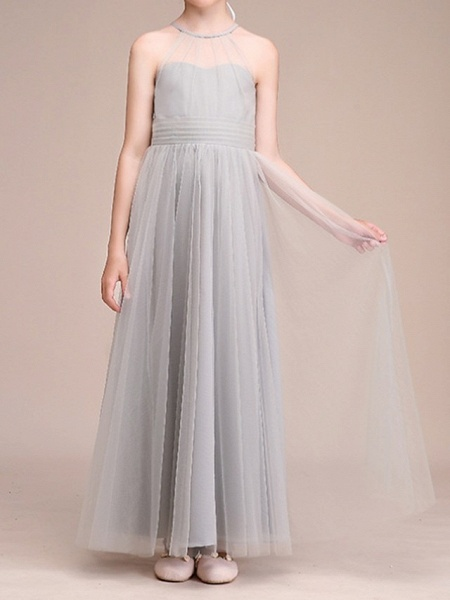 A-Line Floor Length Pageant Flower Girl Dresses - Polyester Sleeveless Halter Neck With Bow(S) / Pleats_5