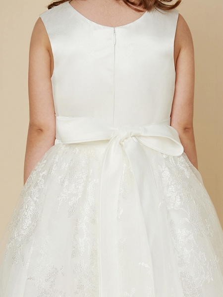 Princess Knee Length Wedding / First Communion Flower Girl Dresses - Lace / Satin Sleeveless Scoop Neck With Sash / Ribbon / Bow(S)_7