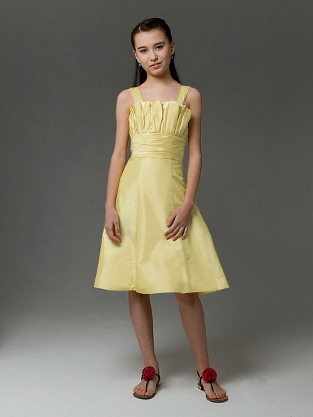 Princess / A-Line Straps Knee Length Taffeta Junior Bridesmaid Dress With Ruched / Crystals / Spring / Summer / Fall / Apple / Hourglass_1