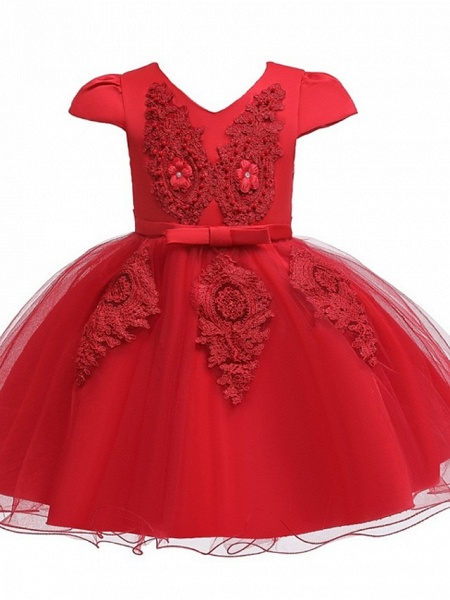 Princess / Ball Gown Knee Length Wedding / Party Flower Girl Dresses - Tulle Short Sleeve V Neck With Sash / Ribbon / Bow(S) / Appliques_10