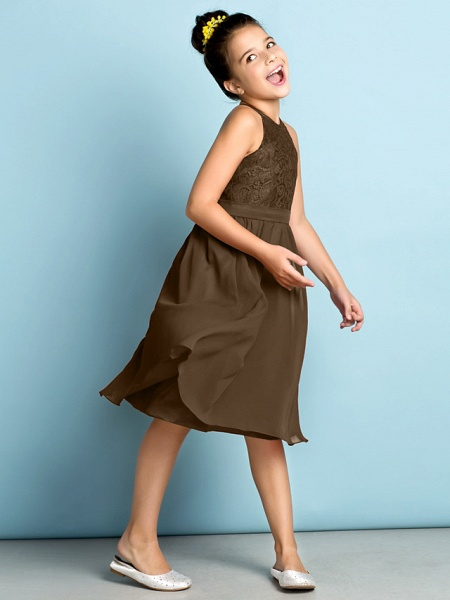 A-Line Jewel Neck Knee Length Chiffon / Lace Junior Bridesmaid Dress With Lace / Natural / Mini Me_33