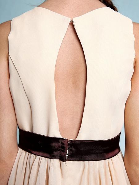 Sheath / Column Scoop Neck Floor Length Chiffon Junior Bridesmaid Dress With Draping / Natural_9