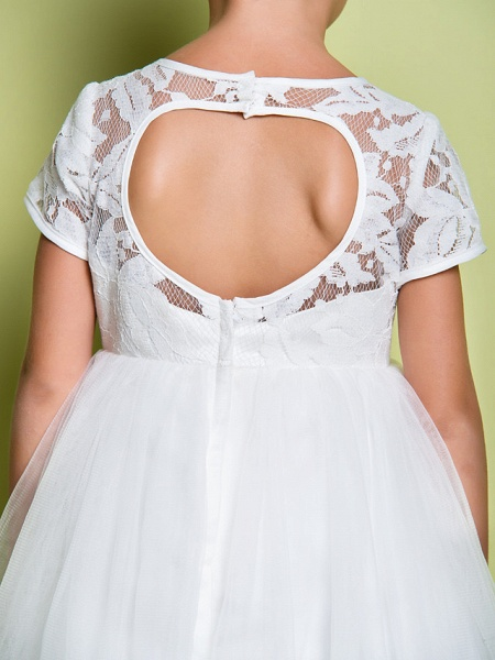 A-Line Tea Length Wedding / First Communion Flower Girl Dresses - Lace / Tulle Short Sleeve Jewel Neck With Lace_8