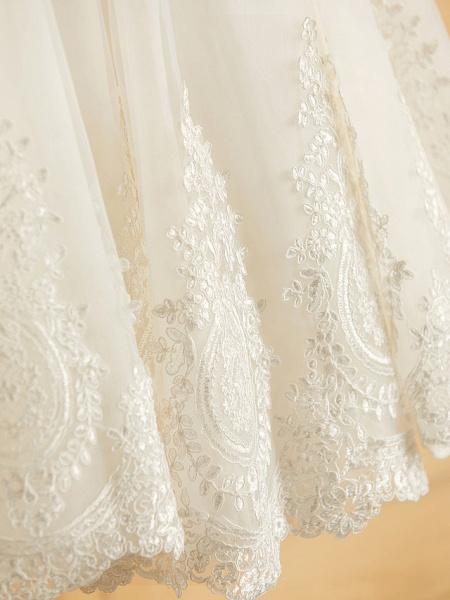 Princess Tea Length Wedding / Birthday / Pageant Flower Girl Dresses - Satin / Tulle Sleeveless Jewel Neck With Bows / Belt / Beading_9