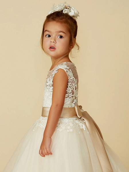 Ball Gown Ankle Length / Knee Length Wedding / Party / Pageant Flower Girl Dresses - Lace / Tulle Sleeveless Jewel Neck With Belt / Buttons / Beading_7