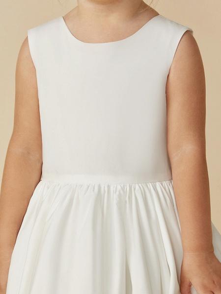A-Line Tea Length Wedding / First Communion Flower Girl Dresses - Taffeta Sleeveless Jewel Neck With Sash / Ribbon / Pleats_11
