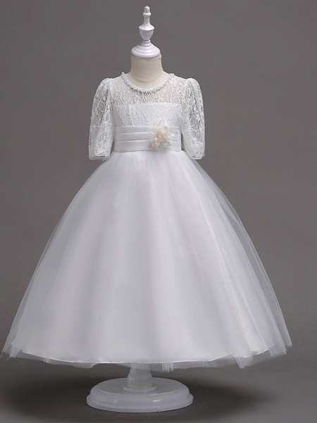 Princess Tea Length Wedding / First Communion Flower Girl Dresses - Lace / Satin / Tulle Half Sleeve Jewel Neck With Lace / Belt / Beading_1