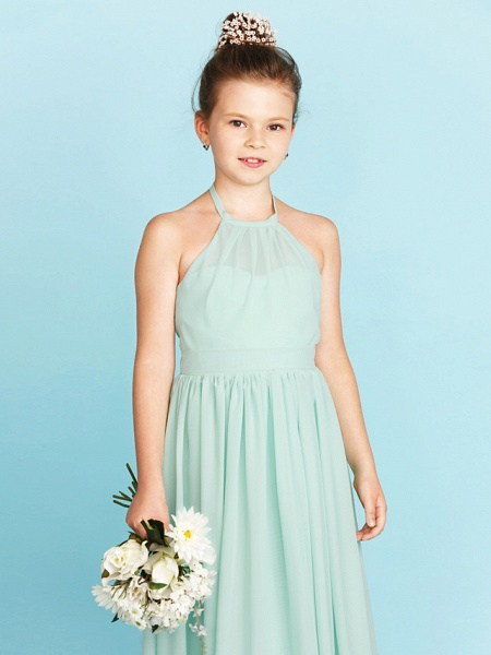 Princess / A-Line Halter Neck Floor Length Chiffon Junior Bridesmaid Dress With Sash / Ribbon / Pleats / Wedding Party / Open Back_5