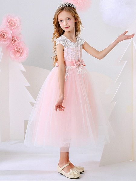 Ball Gown Ankle Length Event / Party / Birthday Flower Girl Dresses - Polyester Short Sleeve Jewel Neck With Bow(S) / Appliques_2