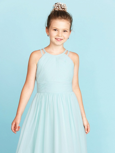 Princess / A-Line Jewel Neck Floor Length Chiffon Junior Bridesmaid Dress With Ruched / Side-Draped / Wedding Party / Open Back_5