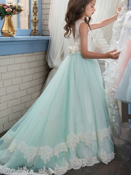 Ball Gown Floor Length Wedding / Event / Party Flower Girl Dresses - Polyester Sleeveless Jewel Neck With Appliques / Color Block_2