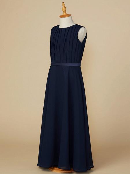 A-Line Jewel Neck Ankle Length Chiffon Junior Bridesmaid Dress With Sash / Ribbon / Ruching_3