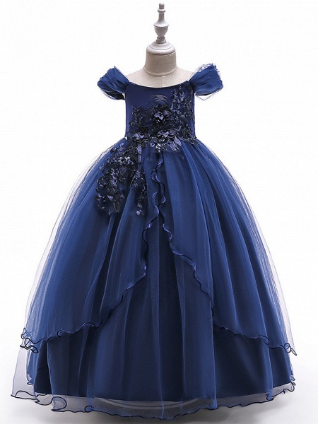 Princess Floor Length Party / Pageant Flower Girl Dresses - Polyester Short Sleeve Off Shoulder With Lace / Embroidery_2