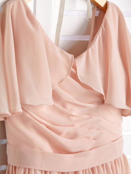 A-Line Jewel Neck Maxi Chiffon Junior Bridesmaid Dress With Ruffles / Ruching / Wedding Party_5