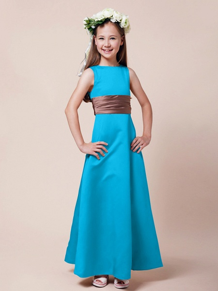 Princess / A-Line Bateau Neck Floor Length Satin Junior Bridesmaid Dress With Sash / Ribbon / Ruched / Spring / Summer / Fall / Winter / Apple_29