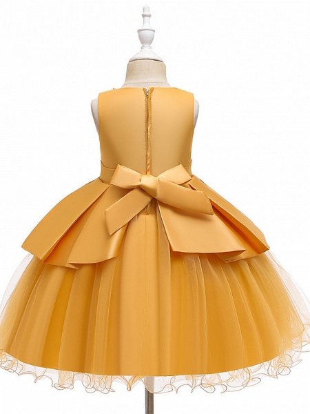 A-Line Knee Length Wedding / Party Communion Dresses - Tulle / Matte Satin / Poly&Cotton Blend Sleeveless Jewel Neck With Lace / Bow(S) / Beading_6