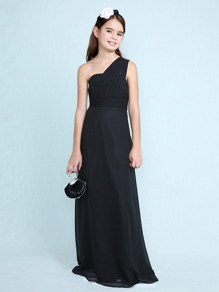 Sheath / Column One Shoulder Floor Length Chiffon Junior Bridesmaid Dress With Side Draping / Natural_5