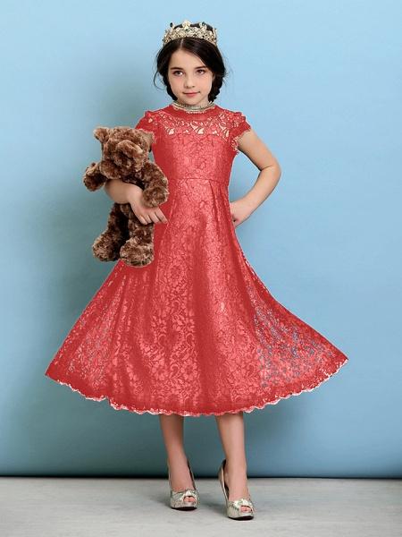 Princess / A-Line Jewel Neck Tea Length Lace Junior Bridesmaid Dress With Pleats / Natural_14