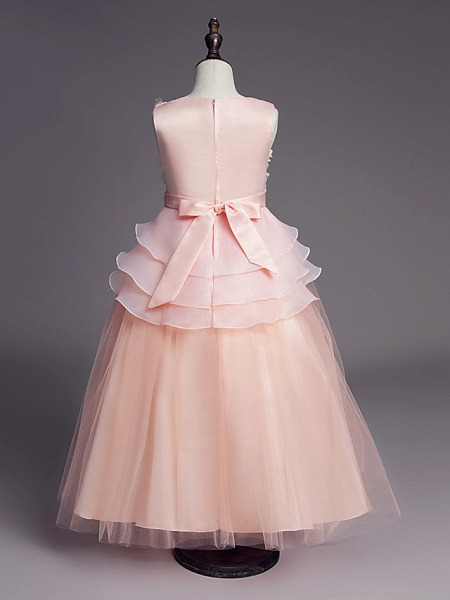 Princess Long Length Wedding / First Communion Flower Girl Dresses - Satin / Tulle Sleeveless Jewel Neck With Belt / Beading / Embroidery_7