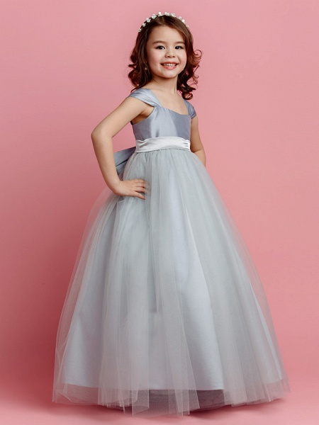 Ball Gown Floor Length Pageant Flower Girl Dresses - Taffeta / Tulle Short Sleeve Square Neck With Sash / Ribbon / Bow(S) / Spring / Summer / Fall_3