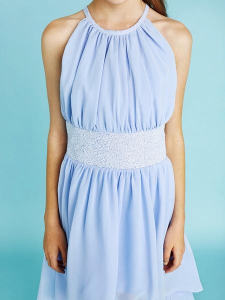Sheath / Column Jewel Neck Asymmetrical Chiffon Junior Bridesmaid Dress With Sequin / Natural_10