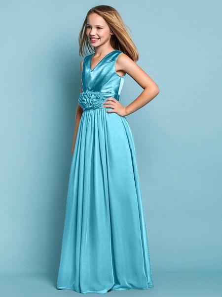 Sheath / Column V Neck Floor Length Chiffon Junior Bridesmaid Dress With Flower / Spring / Summer / Fall / Apple / Hourglass_41