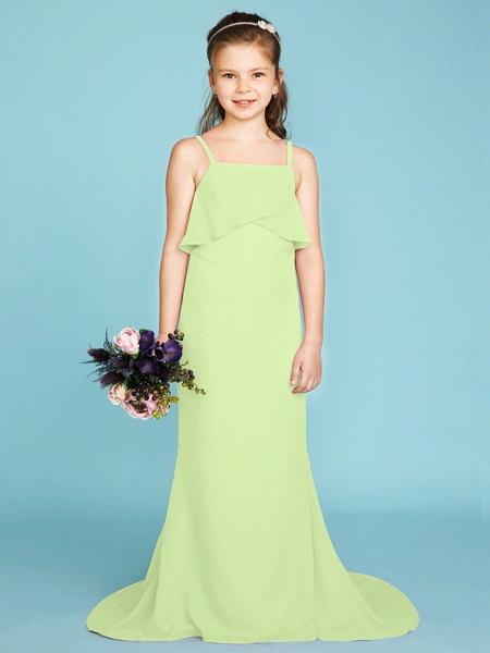 Sheath / Column Spaghetti Strap Sweep / Brush Train Chiffon Junior Bridesmaid Dress With Tiered / Wedding Party / Open Back_39
