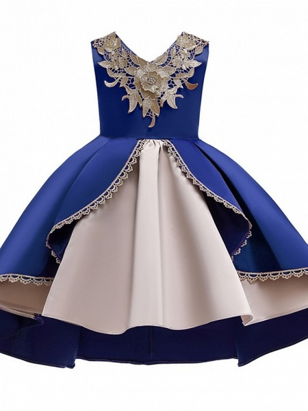 Ball Gown Ankle Length Pageant Flower Girl Dresses - Polyester Sleeveless V Neck With Appliques_2