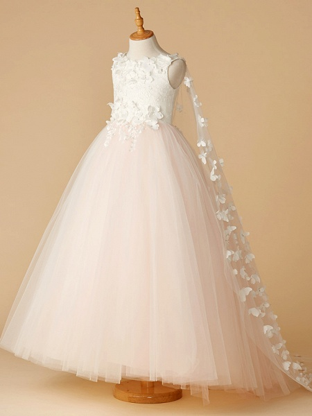 Ball Gown Floor Length Wedding / Party / Pageant Flower Girl Dresses - Lace / Tulle Sleeveless Jewel Neck With Beading / Appliques / Flower_2