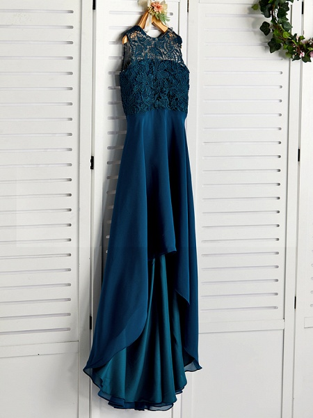A-Line Jewel Neck Asymmetrical / Tea Length Chiffon / Lace Junior Bridesmaid Dress With Lace_3