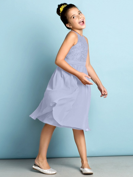 A-Line Jewel Neck Knee Length Chiffon / Lace Junior Bridesmaid Dress With Lace / Natural / Mini Me_46