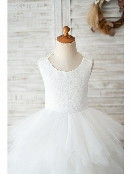 Ball Gown Floor Length Wedding / Birthday Flower Girl Dresses - Lace / Tulle Sleeveless Jewel Neck With Tiered_3