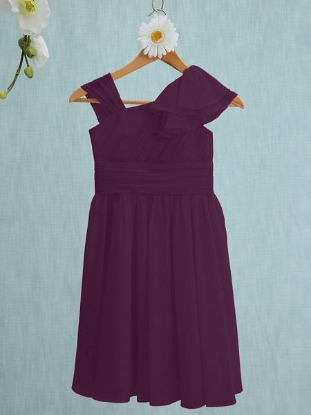 Sheath / Column Straps Knee Length Chiffon Junior Bridesmaid Dress With Ruffles / Side Draping / Natural_16