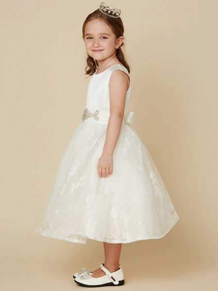 Princess Knee Length Wedding / First Communion Flower Girl Dresses - Lace / Satin Sleeveless Scoop Neck With Sash / Ribbon / Bow(S)_3